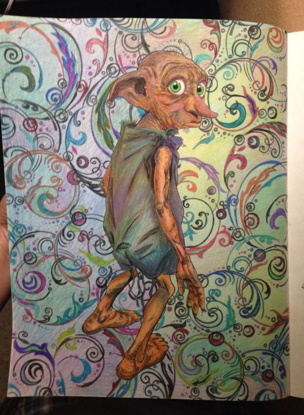 Colored In Harry Potter Coloring Book Dobby Potter
