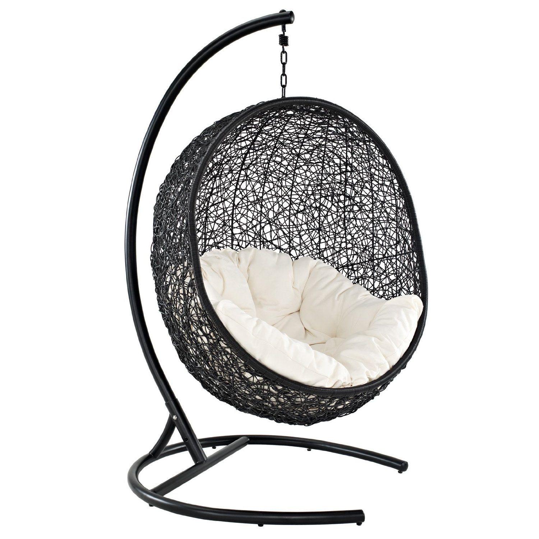 hanging chair big w rental san antonio amazon lexmod cocoon wicker rattan outdoor