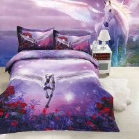 unicorn bedspreads | 3D Unicorn Print Bedding sets Purple ...