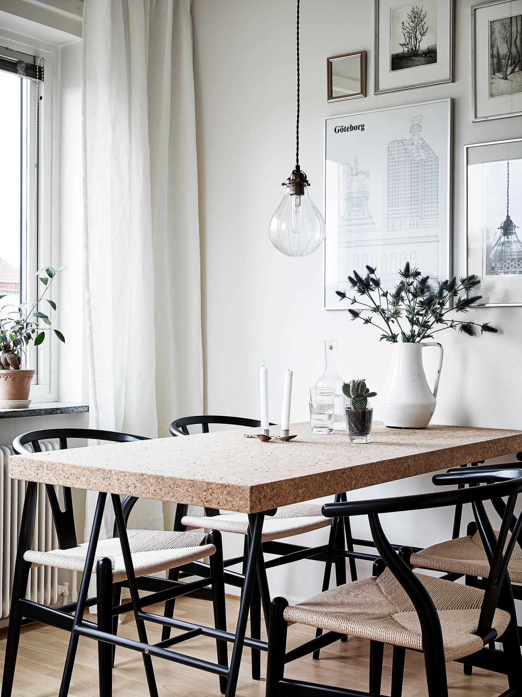 kitchen chair covers cork office high back black wishbone chairs and a table in the