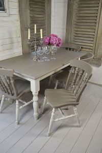 Grey & White Shabby Chic Dining Table with 4 Chairs