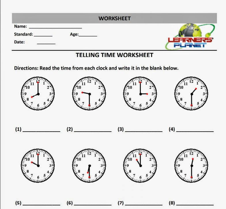 Maths Telling Time & Date worksheet printables interactive