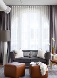 Sheers over Large Window in Living Room Grey and White ...