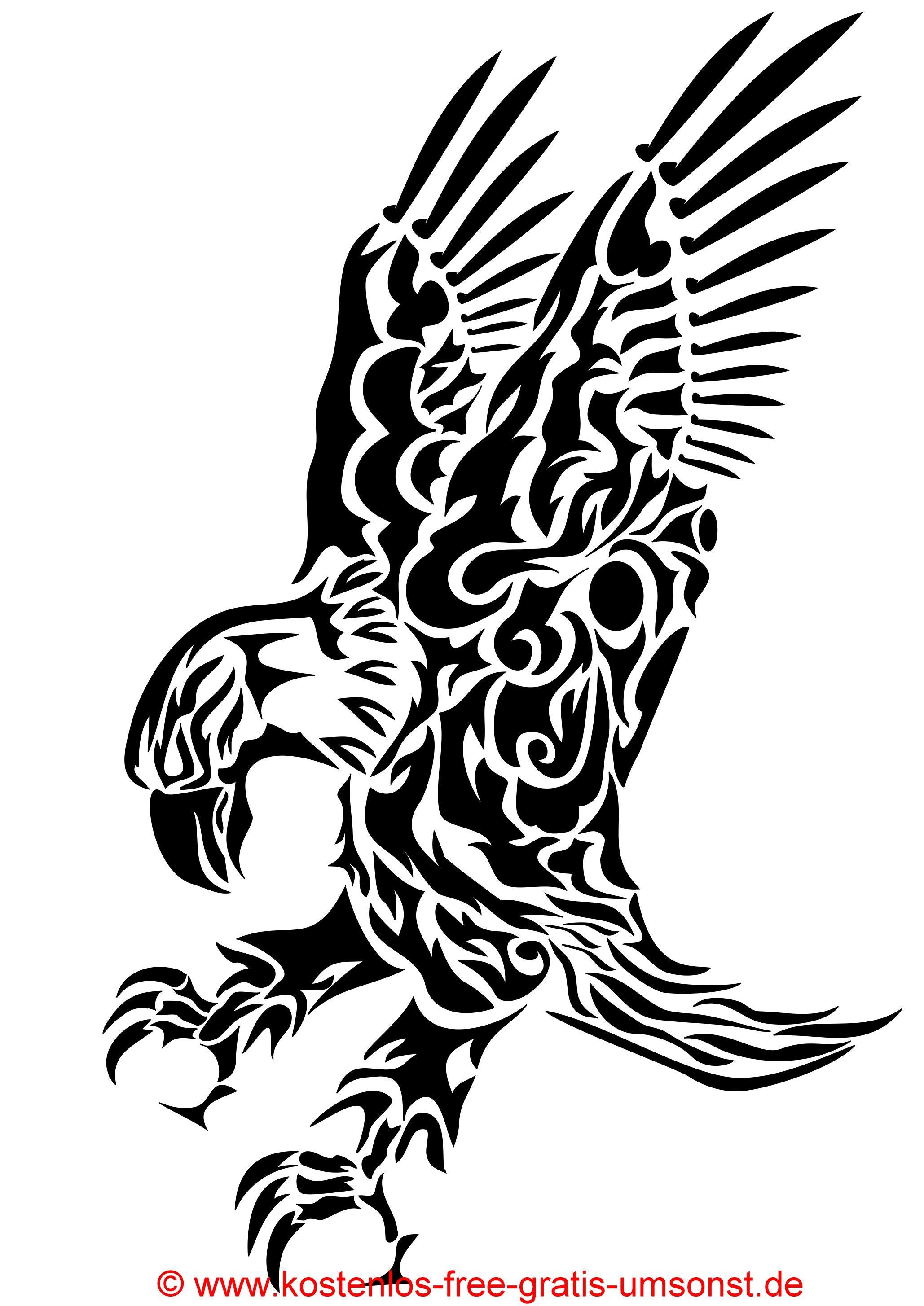 Tiere Tattoo Bild Vogel Adler schwarze Tattoovorlage black