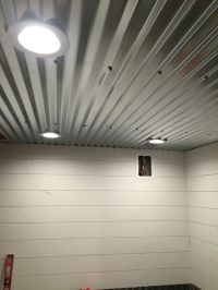 Diy shiplap, corrugated sheet metal ceiling