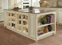 Kitchen island cabinet unit in ivory with fawn glaze and ...