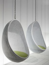 Furniture: Nice Looking White Woven Rattan Two Hanging Egg ...