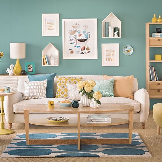 Teal blue and oak living room decorating ideal home housetohome also rh pinterest