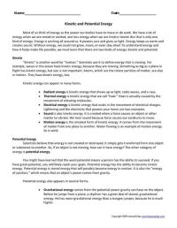 Kinetic and Potential Energy Worksheet | Lesson Planet ...