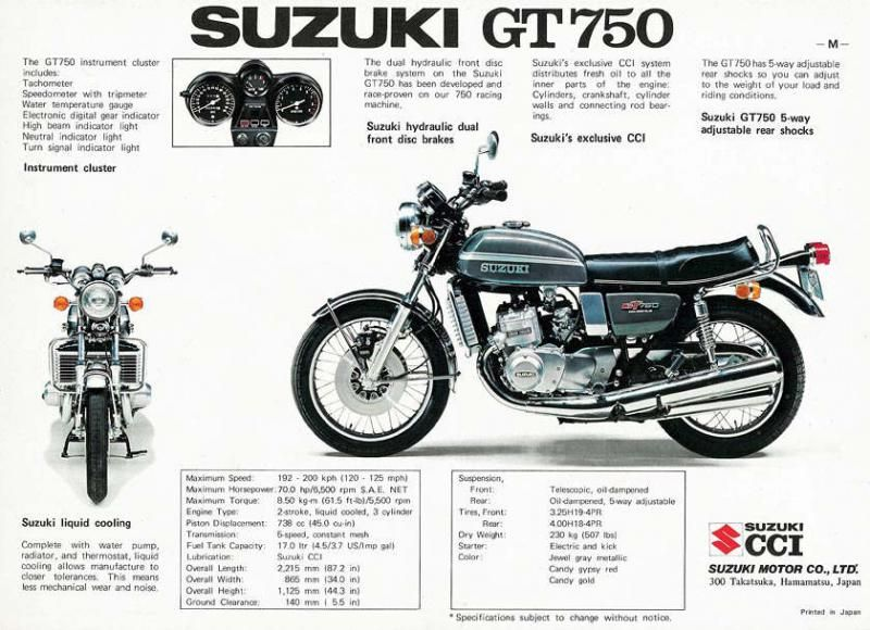 Suzuki GT750, liquid-cooled, 3-cylinder, two-stroke, 70