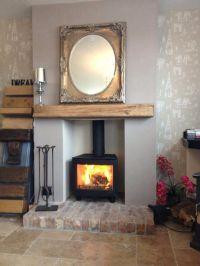 Wood burning stove with oak beam   wood burning stoves and ...