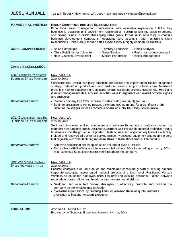 Example Business Sales Resume Free Sample L • Resume