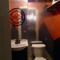 Harley Davidson Living Room Decor Ideas Top Wallpapers Themed Bathroom Done For Our Basement Bar ...