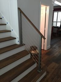 Stainless steel posts with wood handrail and cable ...
