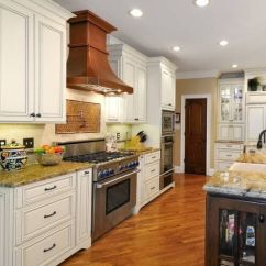 Stainless Steel Restaurant Kitchen Cabinets Island And Stools Traditional White With Copper Range Hood.....i ...