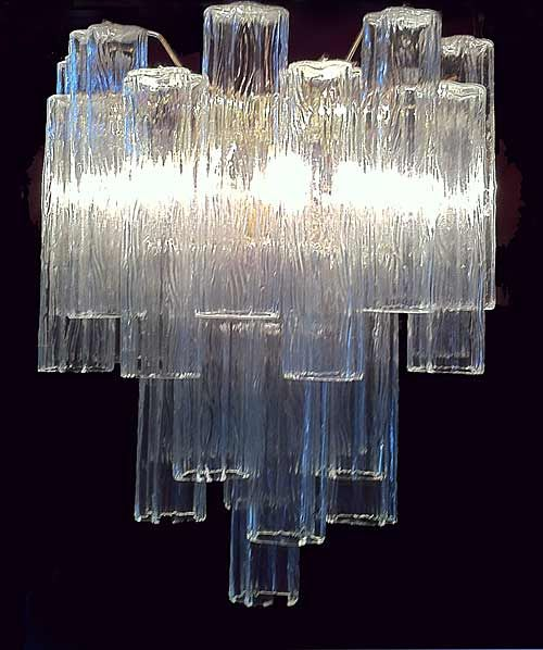 A Spectacular 1960 S Murano Chandelier By Venini Tiers Of Textured Glass Referred To As