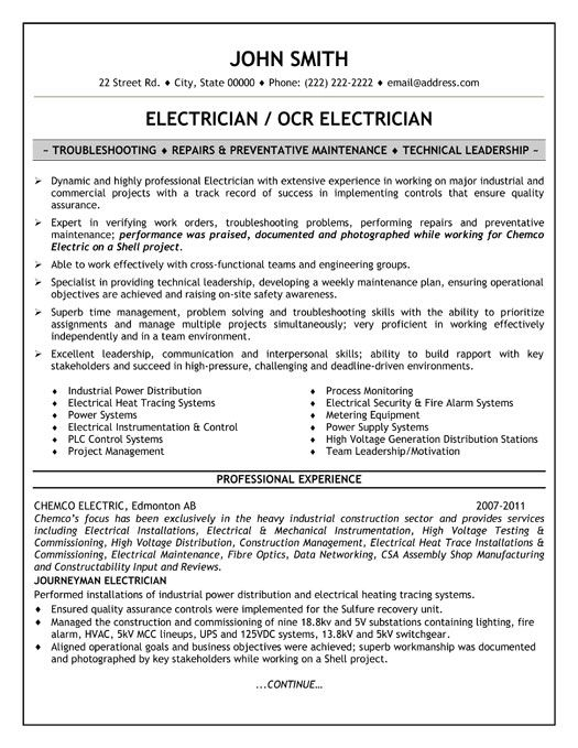 Click Here To Download This Electrician Resume Template!