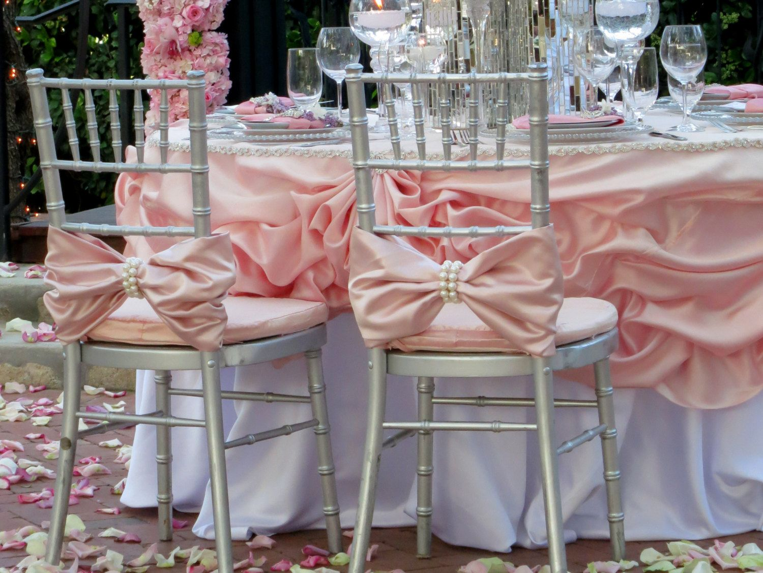 banquet chair covers cheap gerrit rietveld crate plans tangedesign | two pink bows with large pearl chiavari by wedding ...
