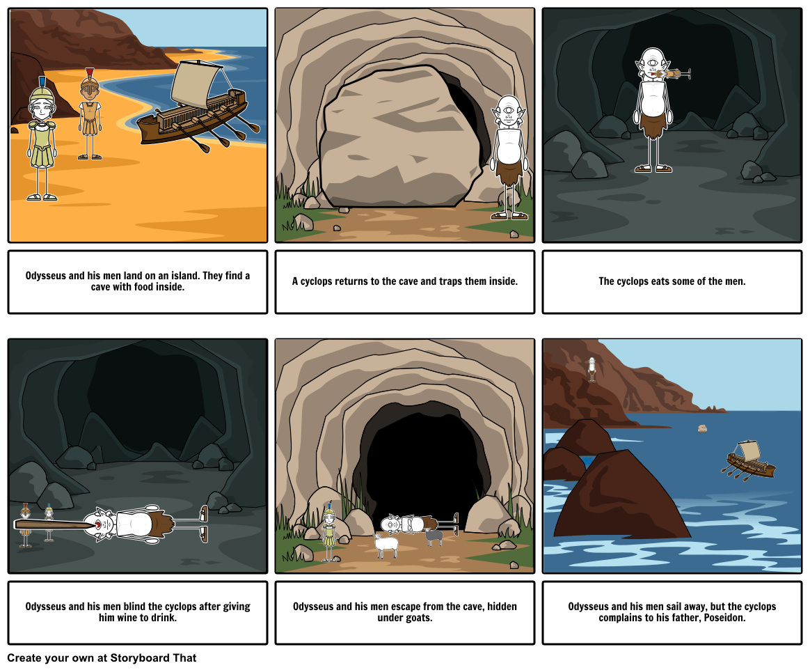 Odysseus And The Cyclops Storyboard By Tjteacher