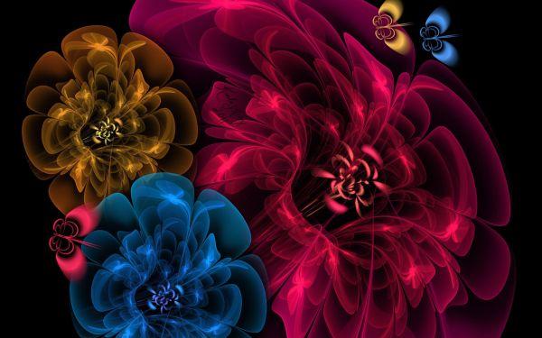 Psychedelic 3d Art Kibertsvety Flowers High Definition Background