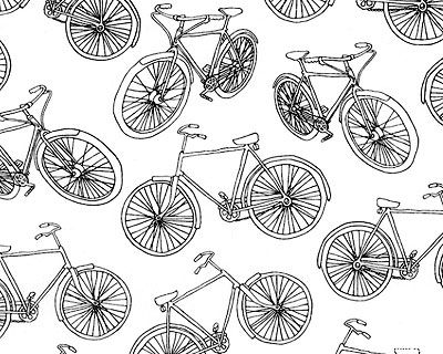 Bicycle sketch fabric from Timeless Treasures, also from