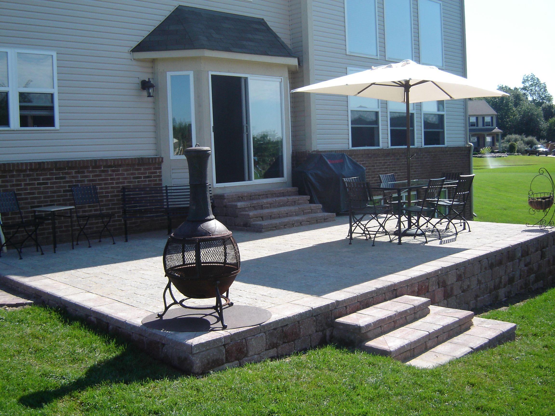 raised brick paver patio