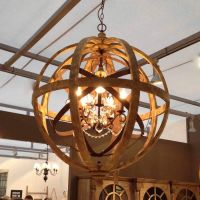 Wooden Orb Chandelier Metal Orb Detail And Crystal | Orb ...