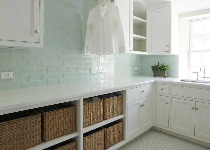 Surf glass subway tile also open shelves laundry rooms and