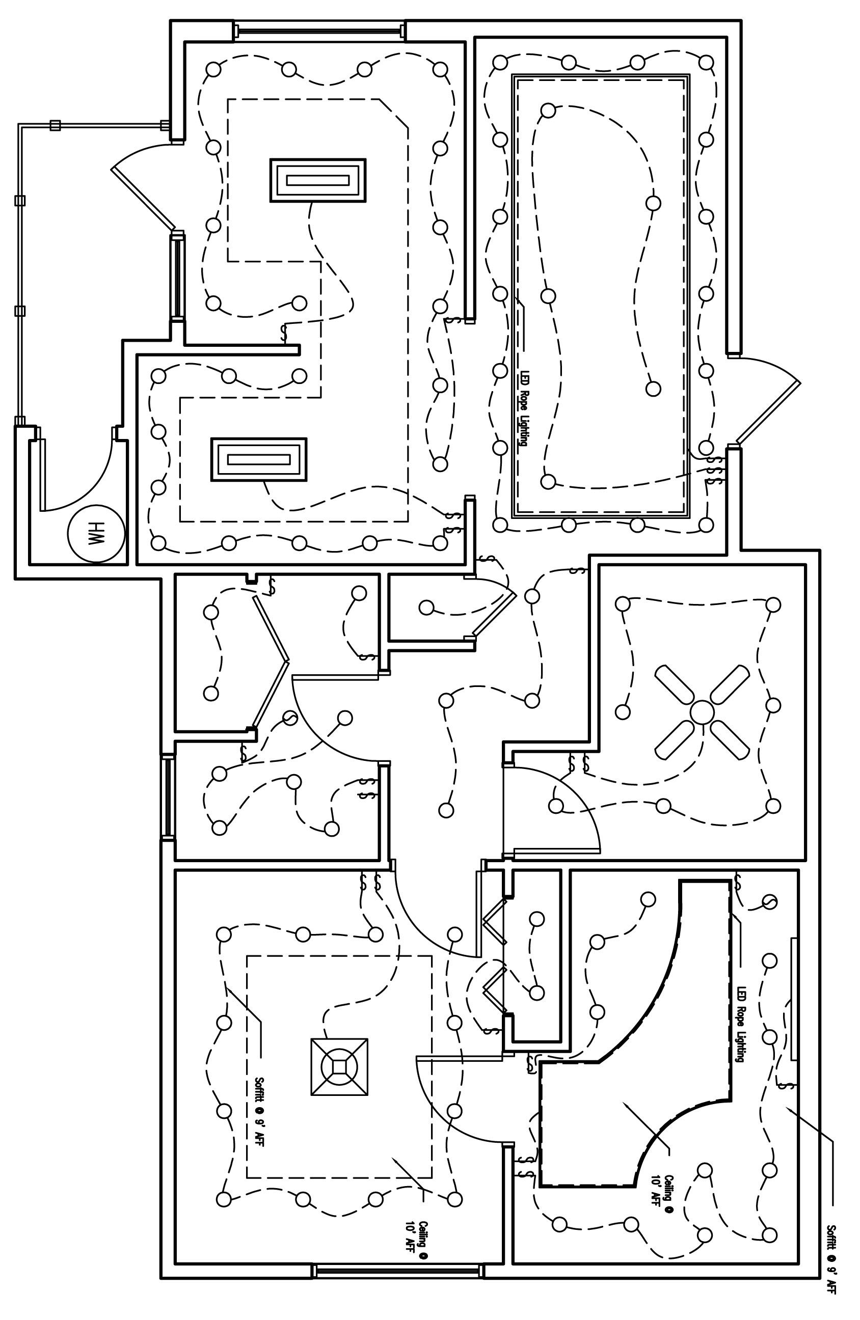 the reflected lighting/ceiling plan of the