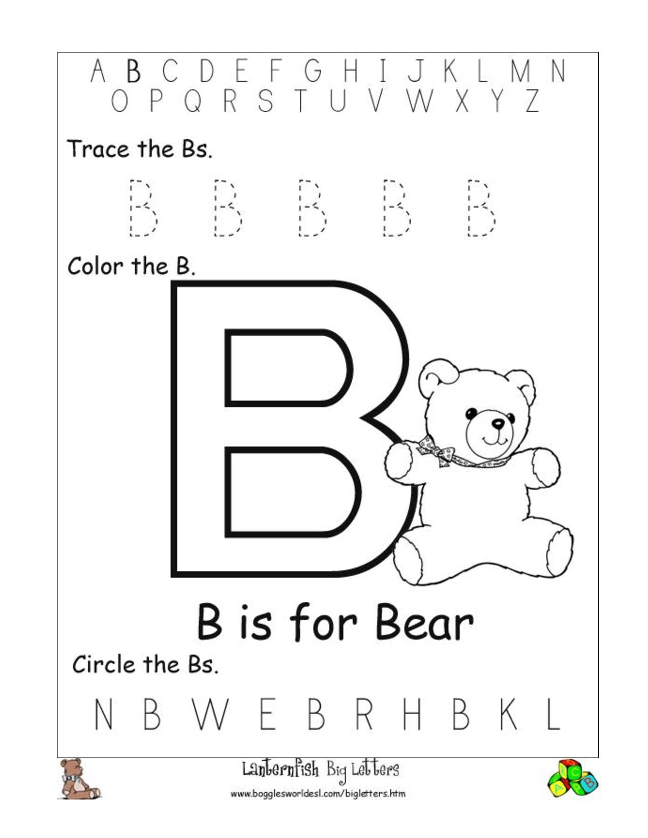 Letter B Worksheet Free