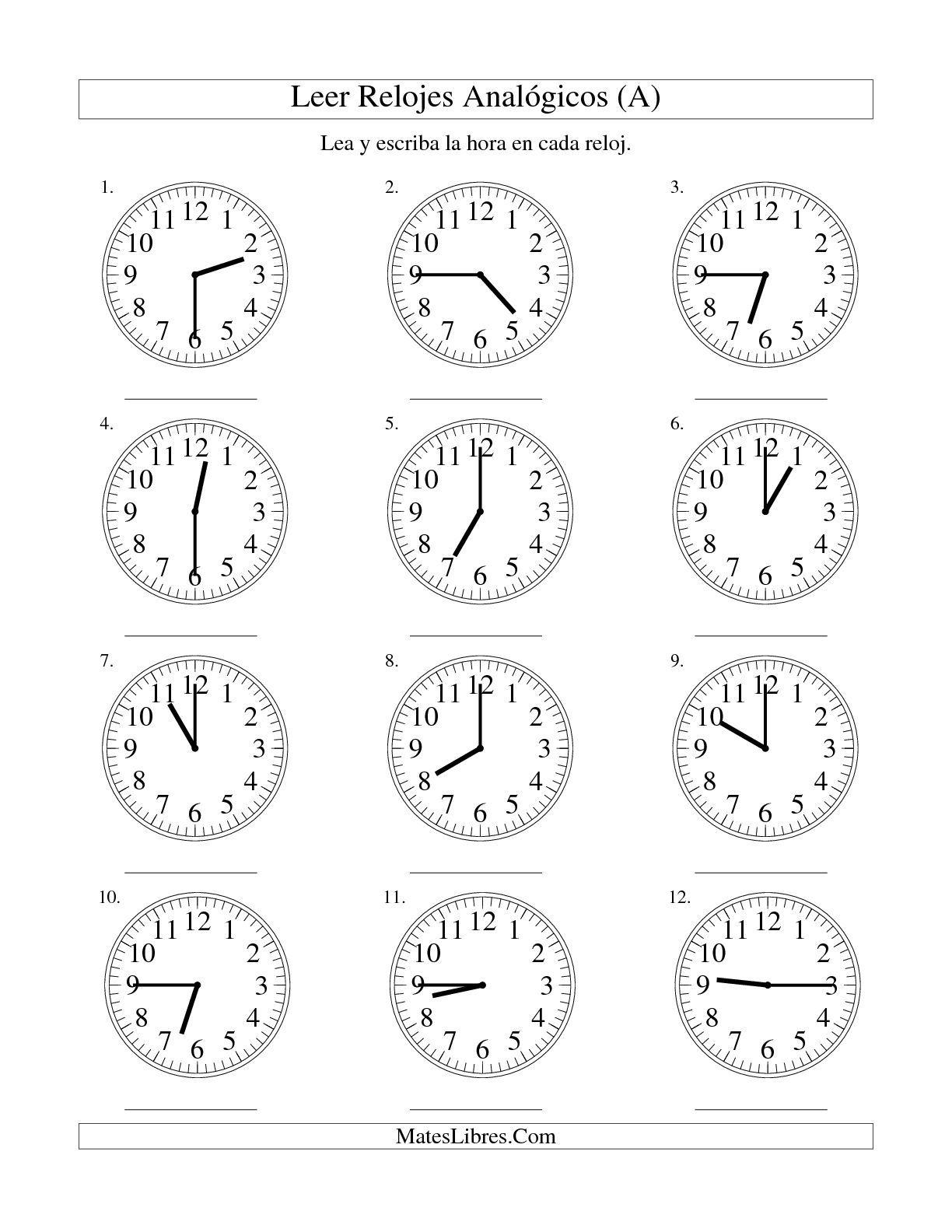 La Leer La Hora En Un Relojogico En Intervalos De 15