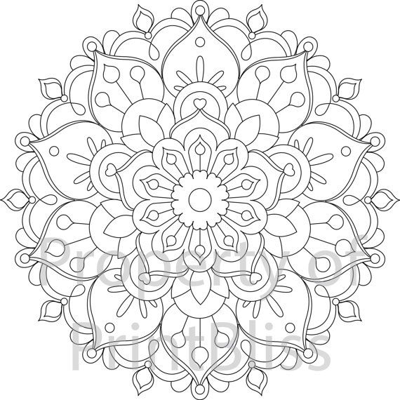26. Flower Mandala printable coloring page. by PrintBliss