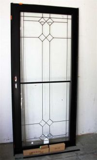 "ANDERSEN Storm Door 36x80"" Black Decorative Glass RH"