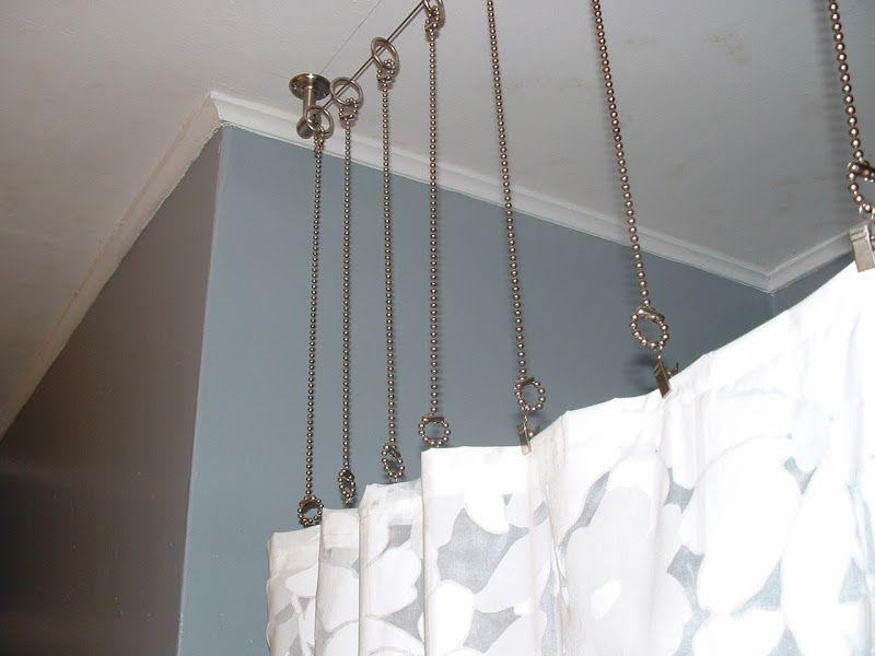 Shower Curtain Rod With Chains Instead? After Bathroom With Gray