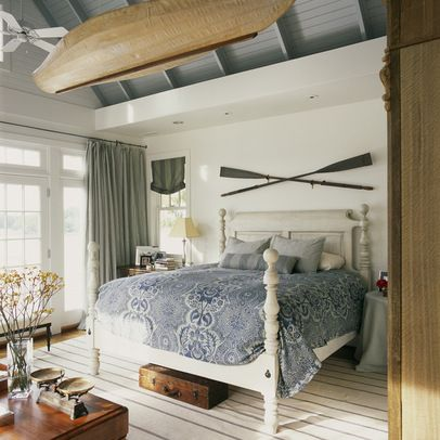 Love This Blue And White Themed Lake House Bedroom! My Seaside