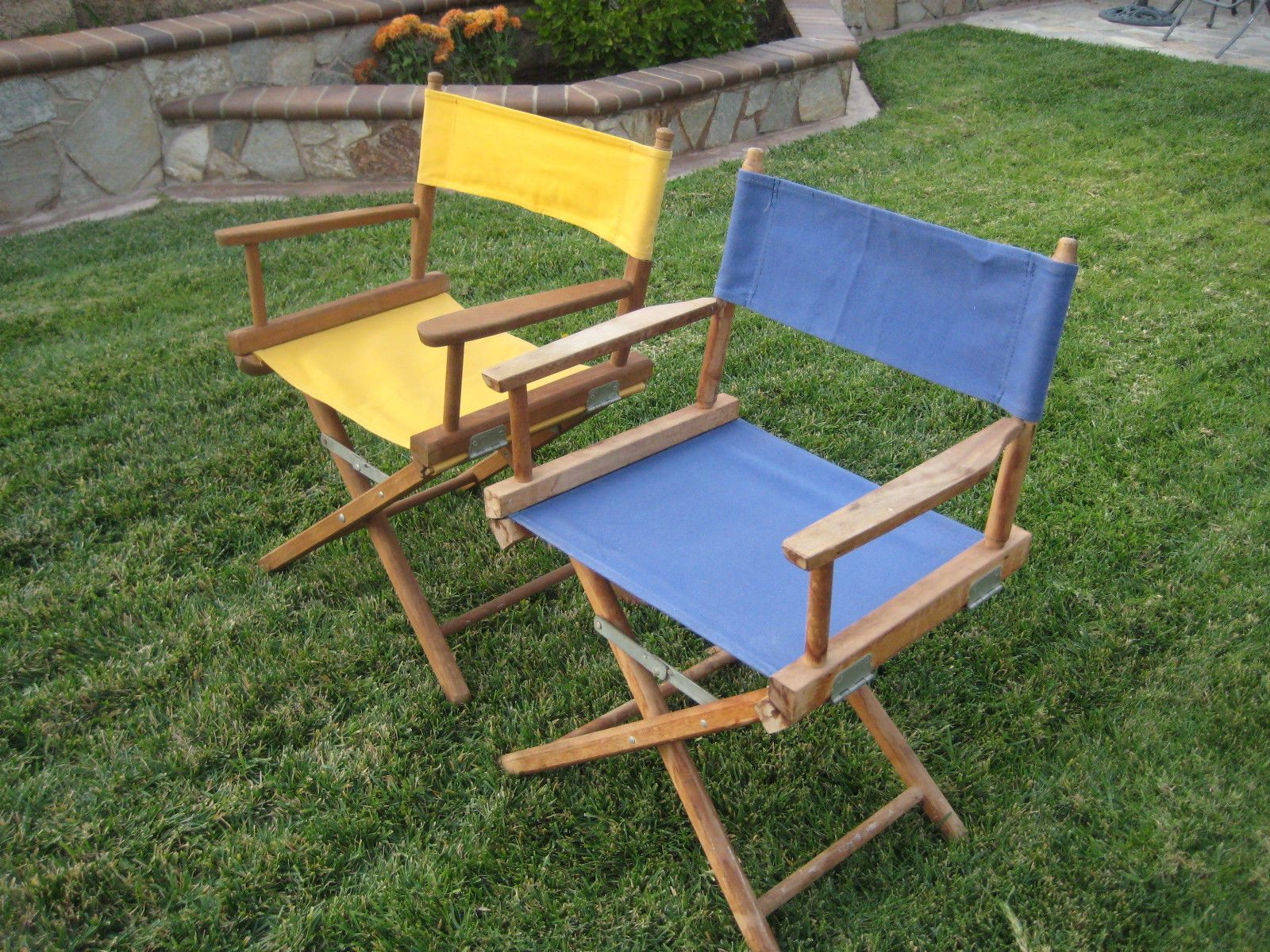 Tailgate Chairs 2 Vintage Folding Camping Canvas Directors Chairs Wood