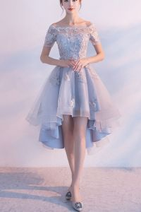 High low prom dress, off the shoulder prom dress, cute ...