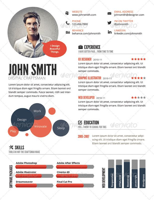Top 5 Infographic Resume Templates Pinteres