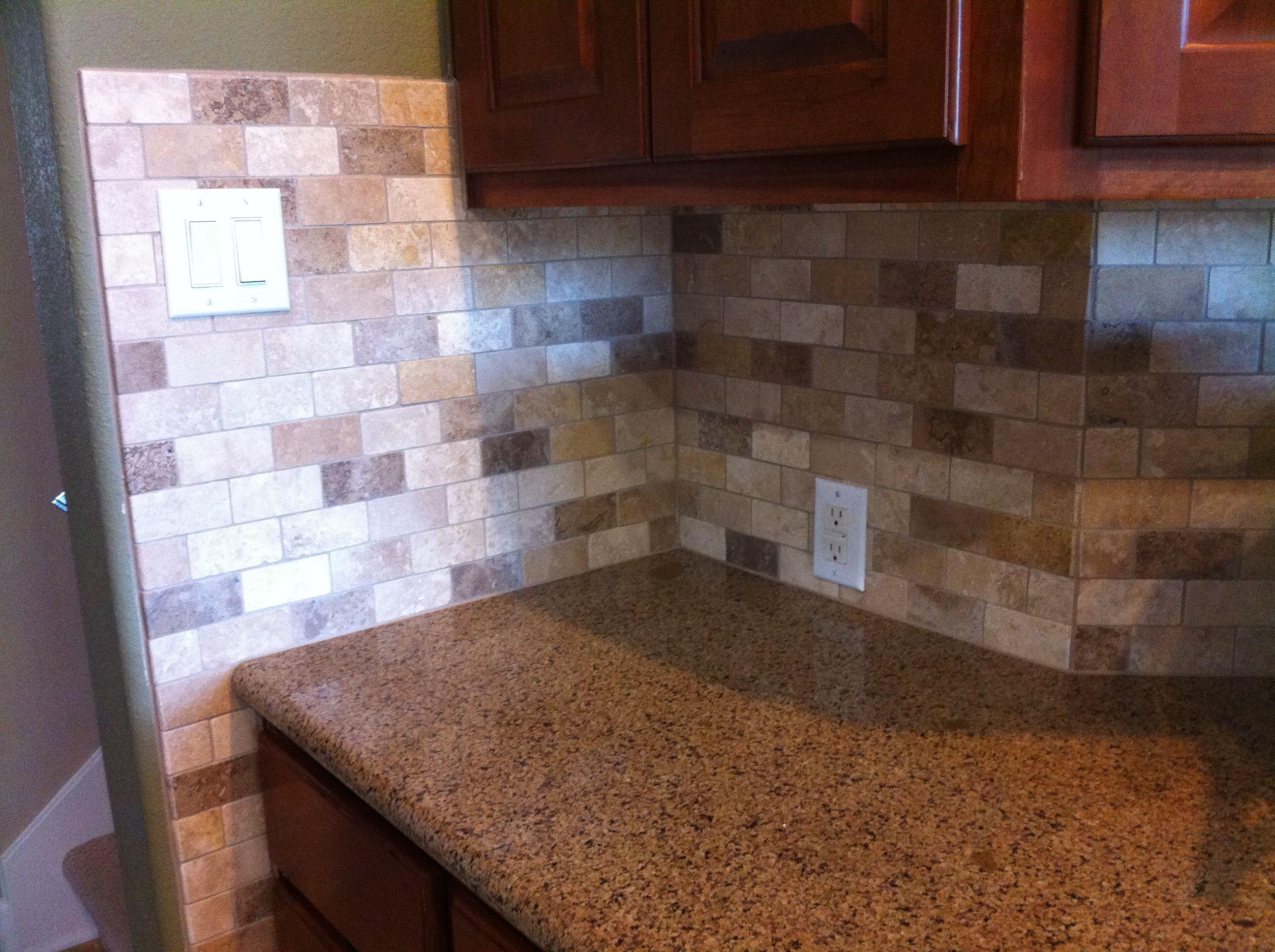 crosley kitchen islands unique designs multi-colored tumbled travertine backsplash tile.   tile ...