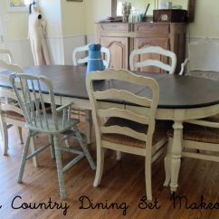 French Country Farm Table And Chairs Glider Chair Parts Farmhouse Couture Glazed Creamy Painted