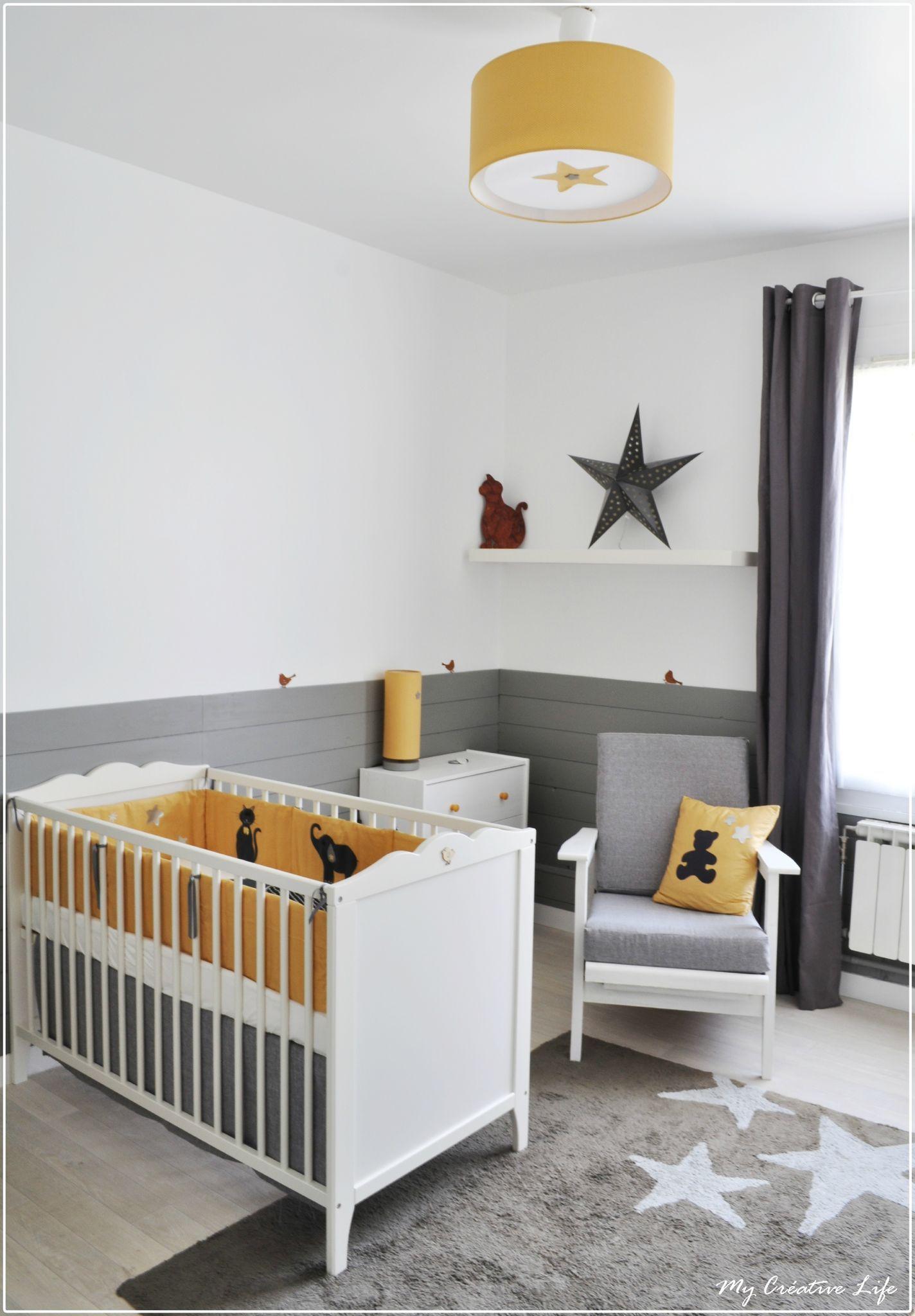 chambre bb jaune et gris et blanc  tour de lit