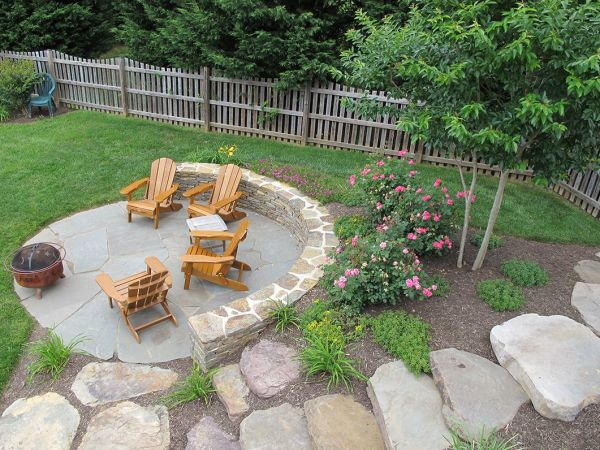 outdoor firepit area simple clean
