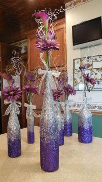 Purple ombre wine bottle vases for centerpieces - DIY ...