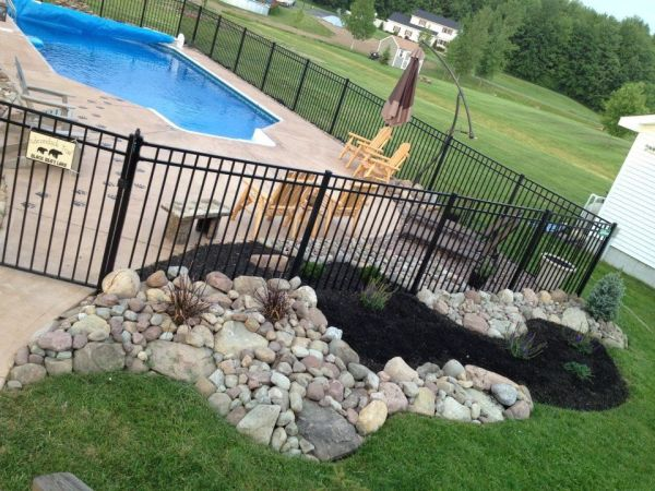 pool landscaping with rocks - home