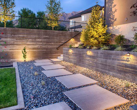 Contemporary Garden Path Ideas Stone Gravel Rectangular Stepping