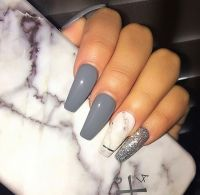 Grey Coffin Nails .   Nails   Pinterest   Coffin nails ...