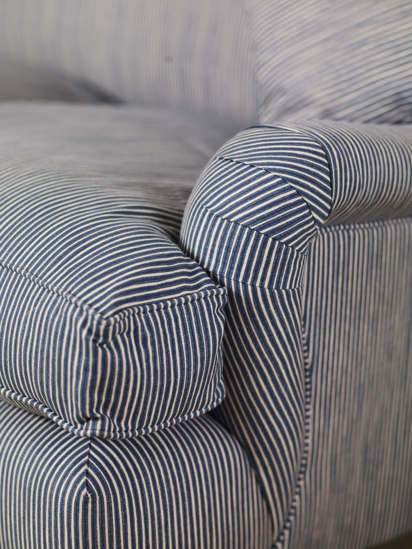 navy blue striped sofa leather chaise stripe roll arm  our new english cottage