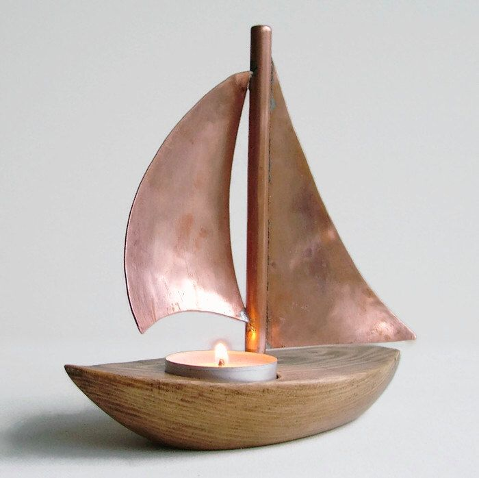 Copper Boat Candle Holder, Copper Candle Holder, Wooden