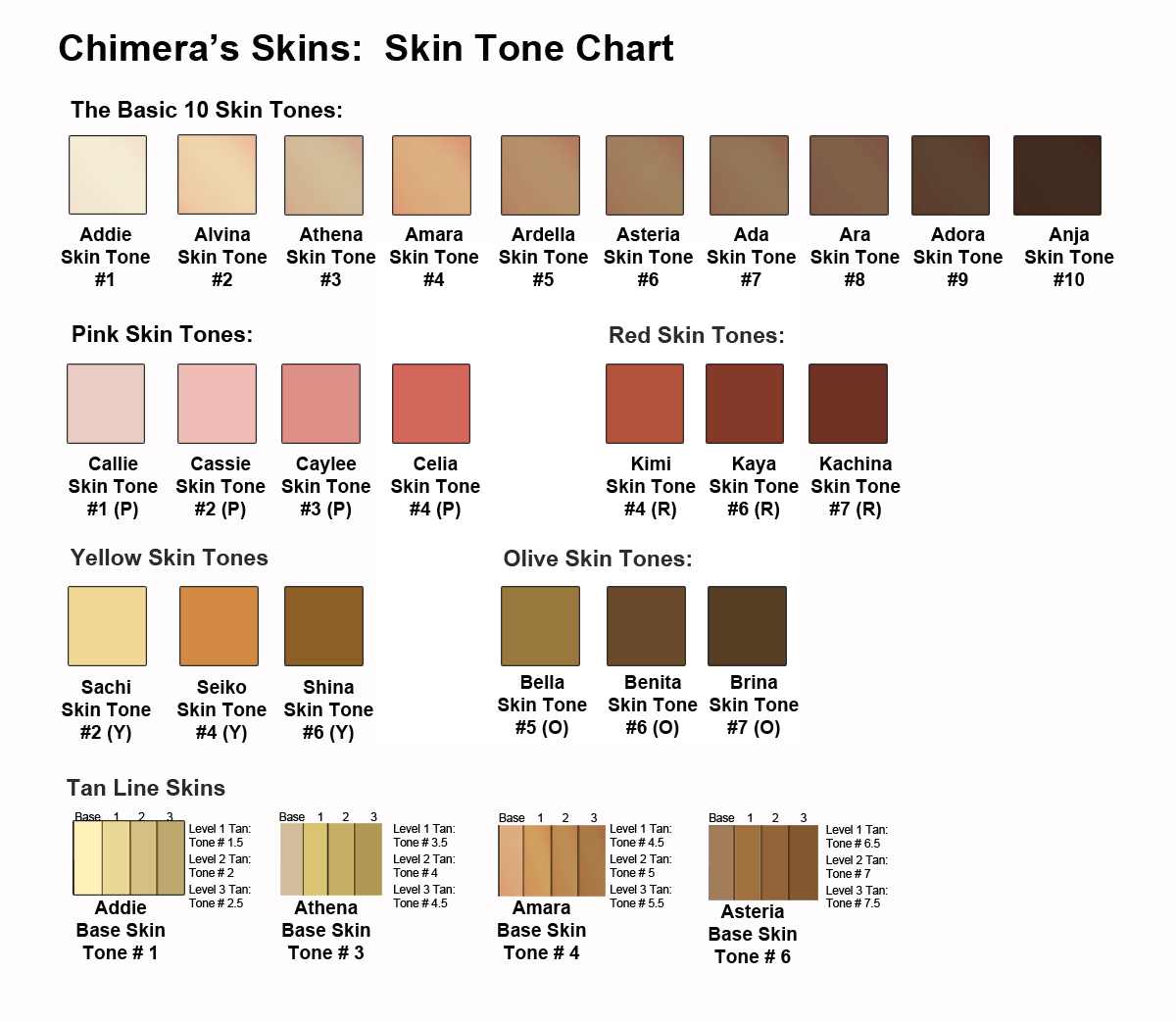 Skin Tone Color Chart