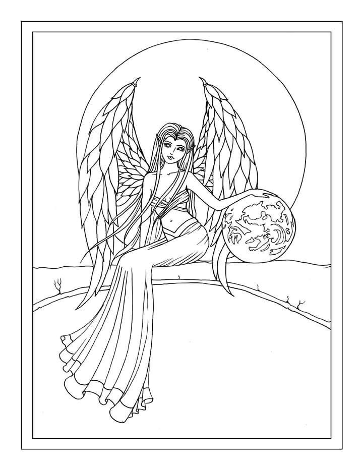 Earth Guardian Angel Free Coloring Page by Molly Harrison